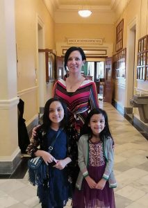 Lillie Lavado visiting Maine State House with her two Children