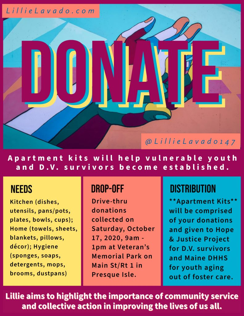 Flyer requesting that people Donate for Youth and D.V. Survivor Apartment Kits